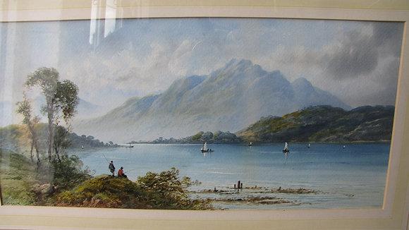 HIGHLAND LOCH SCENE WATERCOLOUR. EDWIN EARP (1851-1945)