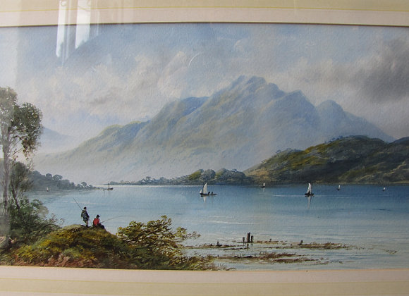 HIGHLAND LOCH SCENE WATERCOLOUR. EDWIN EARP (1851-1945)