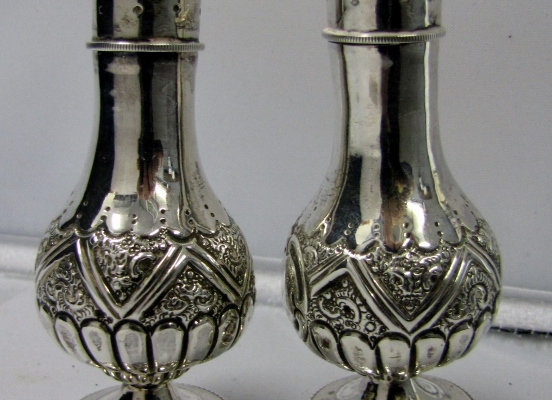 PAIR SILVER PEPPERETTES. HAYES BROS. 1890