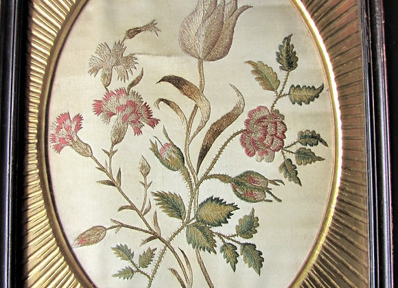 Early 19th C Floral Silk Needlework Picture