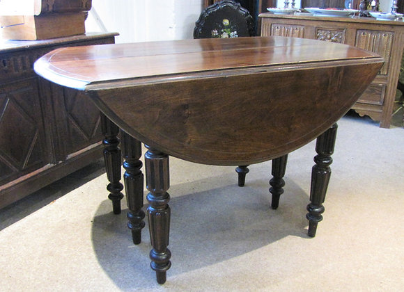 ANTIQUE EXTENDING 7FT ROUND DROP LEAF DINING TABLE