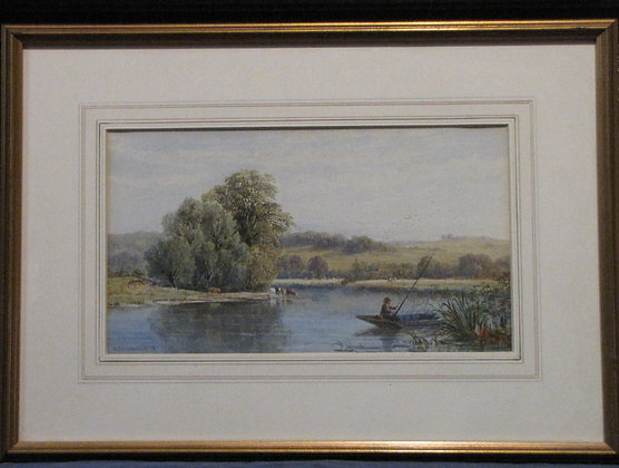 G J Walters Watercolour Of Fishing Scene 1870