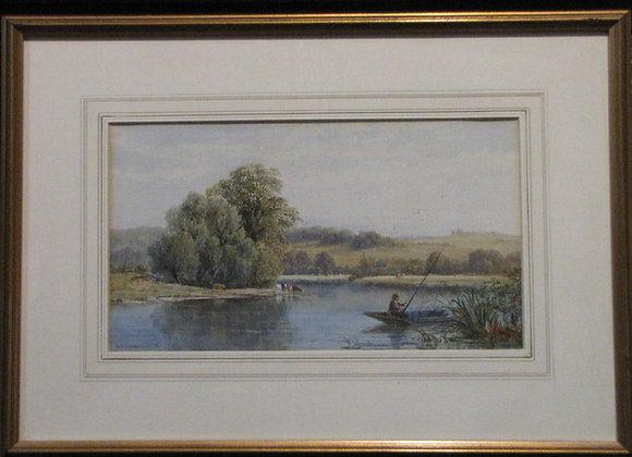 G J Walters Watercolour Of Fishing Scene 1870