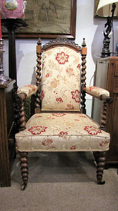 UNUSUAL UPHOLSTERED LIBRARY ARMCHAIR