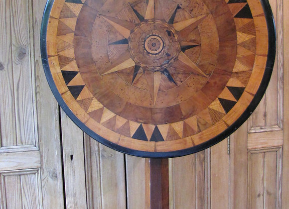 Antique Circular Marquetry Tilt Top Table