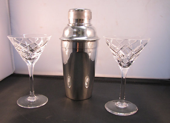 SILVER PLATE COCKTAIL SHAKER WITH ICE BREAKER