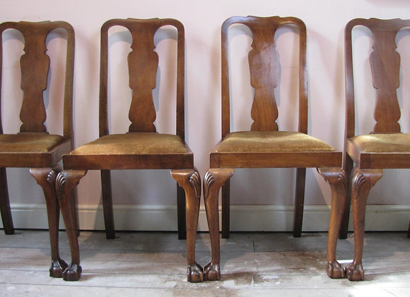 Set of four Queen Anne style mahogany dining chairs