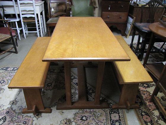 ARTS & CRAFTS REFECTORY TABLE AND MATCHING BENCHES