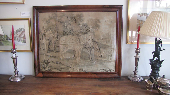 ANTIQUE  NEEDLEWORK TAPESTRY WALL HANGING PICTURE IN ROSEWOOD FRAME