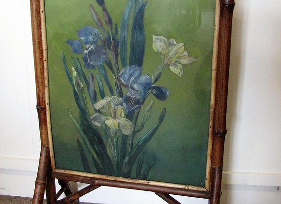 VICTORIAN  BAMBOO PAINTED GLASS FIRE SCREEN
