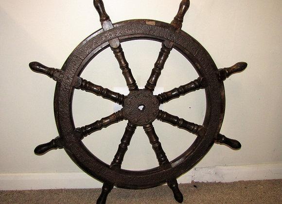 Antique Oak & Iron Ships Wheel