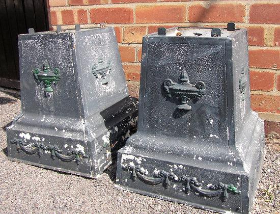 Pair of Cast Iron Classical Urn Plinths