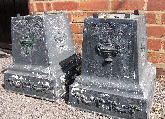 Pair of Cast Iron Classical Urn Plinths
