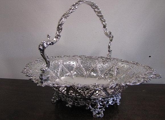 Victorian Swing Handled Silver Basket