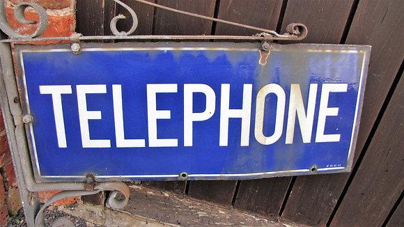 Enamel Telephone Sign on Bracket
