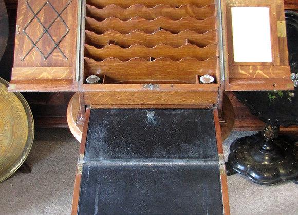 Oak Stationery Cabinet  With Writing Slope
