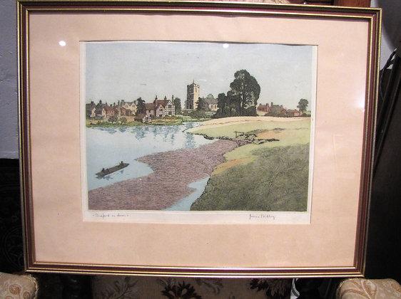 James Priddey (1916-1980) Coloured Etching of Bidford on Avon
