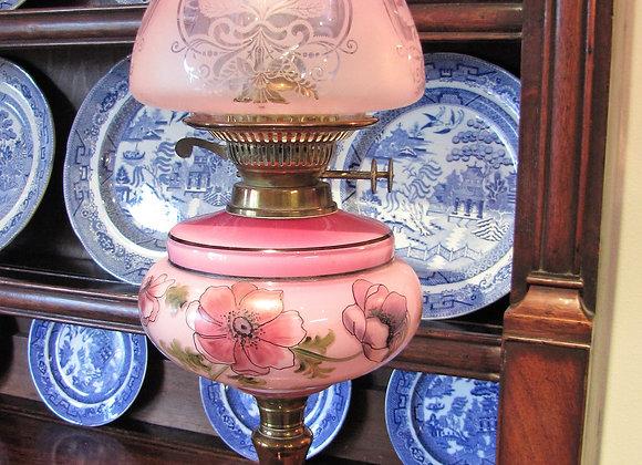 Antique Art Nouveau Hand Painted Pink Oil Lamp C.1900