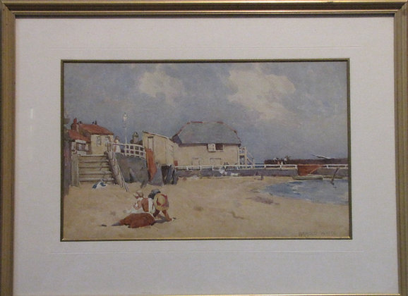 Harold Waite Watercolour Of A Seaside Scene.