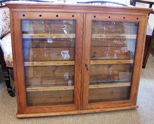 Antique pine glazed spice/plate cupboard