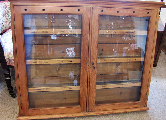 Antique pine glazed spice/plate cupboard