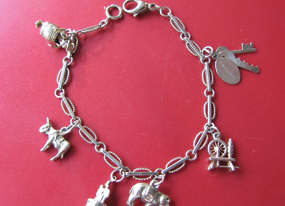 9ct Gold Charm Bracelet with Charms