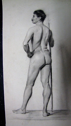 19th Century male nude pencil drawing