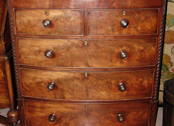 19th CENTURY BOW FRONTED CHEST OF DRAWERS
