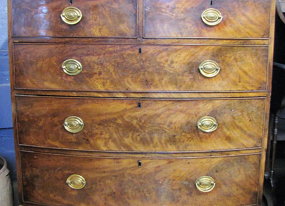 MAHOGANY BOW-FRONT CHEST OF DRAWERS