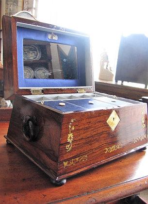 Rosewood Sarcophagus Jewellery Box c1850