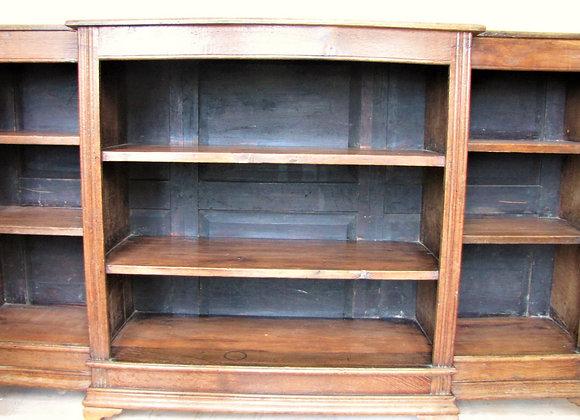 Antique Oak Breakfront Open Bookcase