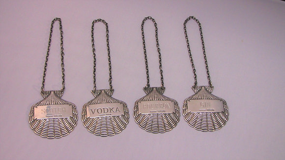 4 Silver Decanter Labels