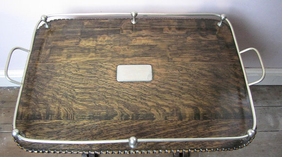 Antique galleried oak serving tray