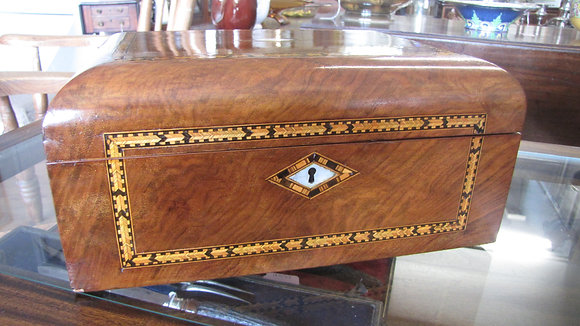 VICTORIAN WALNUT JEWELLERY OR SEWING BOX.