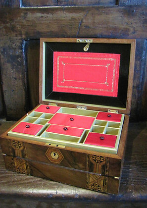Walnut Jewellery Box With Writing Slope
