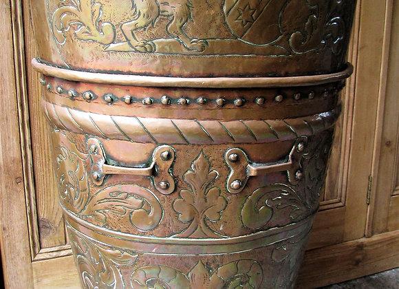 Antique Embossed Copper Grape Hod