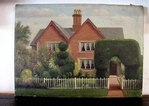 CHARMING OIL ON CANVAS PAINTING OF FARMHOUSE 1916