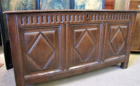 Antique Oak Three Panelled Coffer/Chest