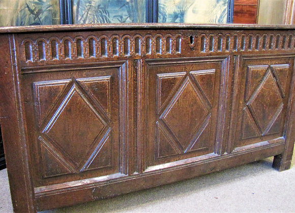 Antique Oak Three Panelled Coffer/Chest