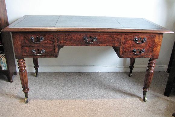 Early 19th C. burr walnut writing table/desk