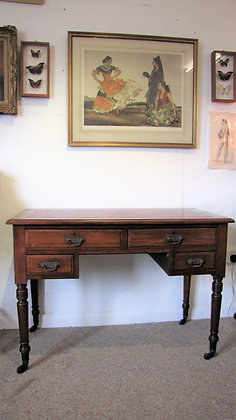 SMALL EDWARDIAN LEATHER TOP DESK