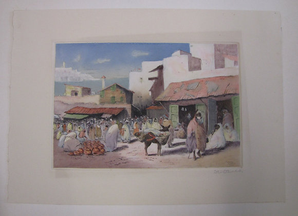'TANGIER SOKO' ORIGINAL COLOURED ETCHING BY D. DONALD
