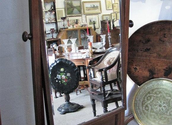 Large antique mahogany cheval mirror