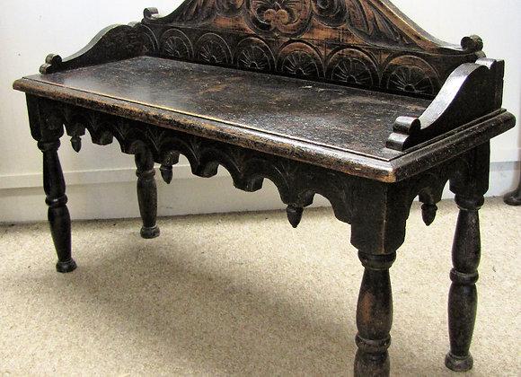 Victorian Carved Oak  Window Seat  Bench