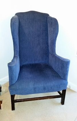 ANTIQUE 19th Century  UPHOLSTERED EASY READING LIBRARY WING BACK ARMCHAIR.
