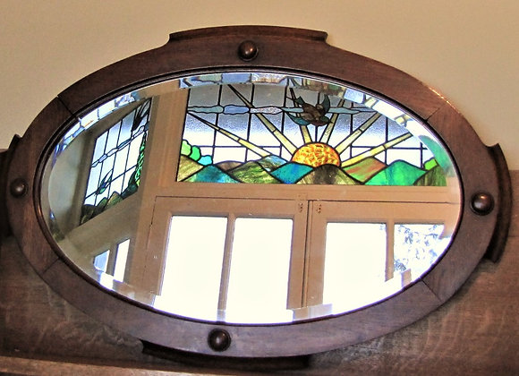 Oak Framed Bevelled Edge Oval Wall  Mirror
