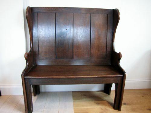 Antique 19th C. Oak Settle, Bench, Pew.