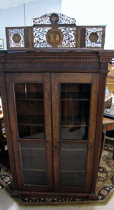 Unusual Oak Bookcase with Marquetry Panels.  SOLD