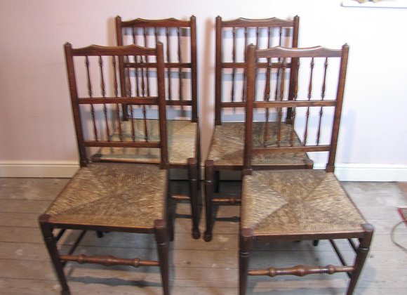 Set Of Four Heals Antique Oak Country Cottage Dining Chairs.