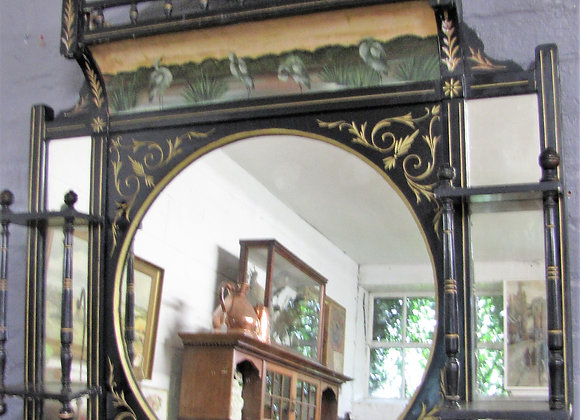 VICTORIAN AESTHETIC PERIOD EBONISED OVERMANTLE MIRROR